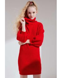 Callahan - Cowl Turtleneck Sweater Dress - Lyst