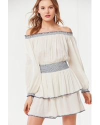 Urban Outfitters - Uo Saffron Skies Off-the-shoulder Dress - Lyst