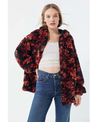 Urban Outfitters - Uo Wilma Floral Hooded Zip-front Teddy Jacket - Lyst