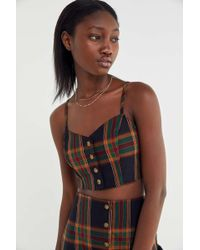 Urban Renewal - Remnants Plaid Button-front Cropped Tank Top - Lyst
