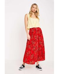 3d65d14ea0 Urban Outfitters - Uo Pink Floral Beach Button-through Midi Skirt - Lyst