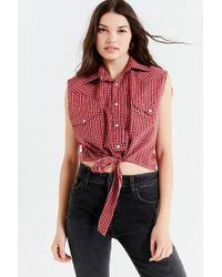 Urban Outfitters - Urban Renewal Recycled Western Tie-front Top - Lyst
