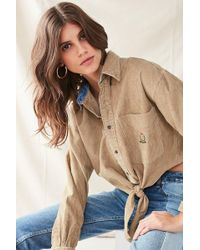 Urban Outfitters - Urban Renewal Recycled Tie-front Corduroy Shirt - Lyst