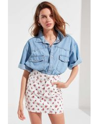 c0654dc87 Urban Outfitters Uo Twill Frayed Blue Mini Skirt in Blue - Lyst