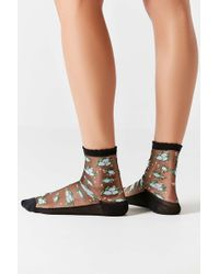 Out From Under - Floral Monofilament Crew Socks - Womens All - Lyst
