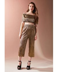 Oh My Love - Metallic Accordion Pleat Off-the-shoulder Set - Lyst