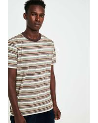 Urban Outfitters - Uo Billy Green And Brown Micro-stripe T-shirt - Lyst