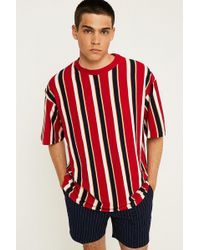 Urban Outfitters - Uo Red Vertical Stripe T-shirt - Lyst