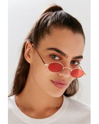 Urban Outfitters - Sel Slim Oval Metal Sunglasses - Lyst