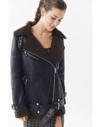 Urban Outfitters - Uo Oversized Faux Leather Aviator Jacket - Lyst