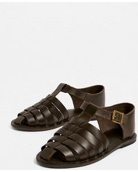 Urban Outfitters Uo Sandy Leather Fisherman Sandals - Brown