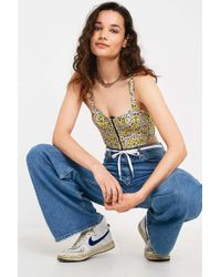 a2212cbc633d3 Urban Outfitters - Uo Ana Floral Hook + Eye Cropped Cami - Lyst