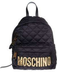 Moschino - Black Quilted Nylon Backpack W/laminated Logo - Lyst