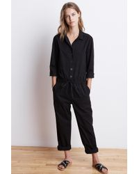 Velvet By Graham & Spencer | Saylor Cotton Twill Button-up Jumpsuit | Lyst