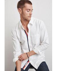 Velvet By Graham & Spencer - Geno Woven Cotton Stripe Trim Shirt - Lyst