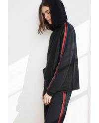 Velvet By Graham & Spencer - Billa Luxe Fleece Stripe Hoodie - Lyst