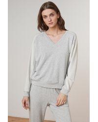 Velvet By Graham & Spencer - Makoa Luxe Fleece V-neck Sweatshirt - Lyst