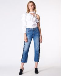 Veronica Beard | Ines Girlfriend With Lace Up Jean | Lyst