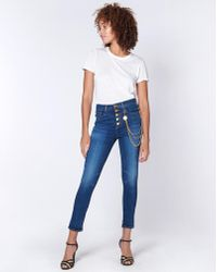 """Veronica Beard - Debbie 10"""" Skinny With Gold Chain And Buttons - Lyst"""