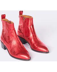 Veronica Beard - Tanner Tumbled Metallic Leather Booties - Lyst