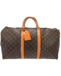 Louis Vuitton - Keepall Brown Leather Travel Bag - Lyst