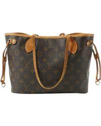 Louis Vuitton - Vintage Neverfull Brown Leather Handbag - Lyst
