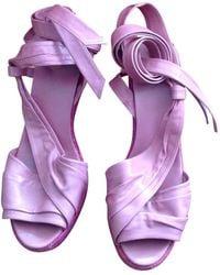 Hermès - Pink Leather Sandals - Lyst