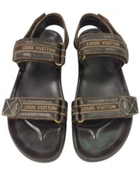Louis Vuitton - Pre-owned Brown Leather Sandals - Lyst