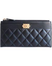 1e145ce3b389a6 Chanel - Boy Black Leather Purses, Wallets & Cases - Lyst