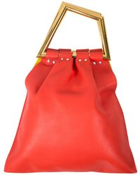 Céline - Pre-owned Triangle Leather Tote Bag  - Lyst