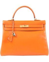 Hermès - Sac à main Kelly 35 en Cuir Orange - Lyst
