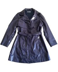 Balmain - Pre-owned Metallic Blue Linen And Cotton Trench Coat - Lyst