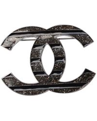 Chanel - Pre-owned Cc Black Metal Pins   Brooches - Lyst be577c1e092