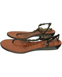 bbf1f09ca99164 Lanvin - Black Patent Leather Sandals - Lyst