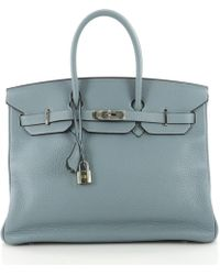 839de7be3e Hermès - Pre-owned Birkin 35 Blue Leather Handbags - Lyst