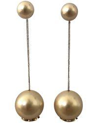 Chanel - Gold Pearl Earrings - Lyst