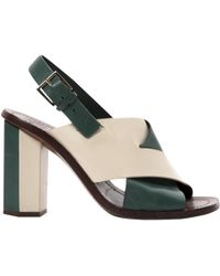 414789113a60 Tory Burch - Green Leather Sandals - Lyst
