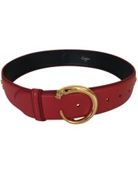 Cartier - Pre-owned Vintage Red Leather Belts - Lyst