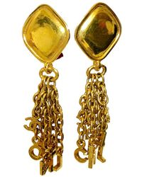 Chanel - Vintage Gold Metal Earrings - Lyst
