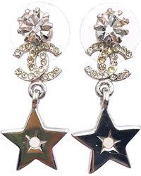 Chanel - Silver Metal Earrings - Lyst