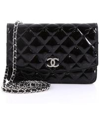 ac292641080b1d Chanel Wallet On Chain Black Patent Leather Handbag in Black - Lyst