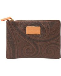Etro - Pre-owned Brown Leather Purse - Lyst