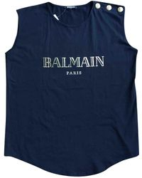 Balmain - Pre-owned Black Cotton Tops - Lyst