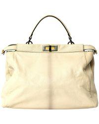 Fendi - Ecru Leather Handbag - Lyst