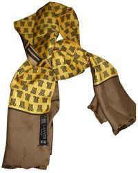 Lanvin - Pre-owned Khaki Silk Scarves & Pocket Squares - Lyst