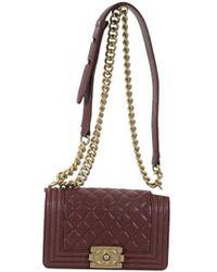 1e1bd56e853d Chanel - Boy Burgundy Leather Handbag - Lyst