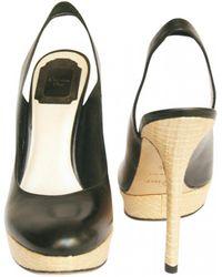 Dior - Black Leather Sandals - Lyst