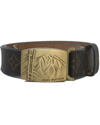 52d2fdb20734 Lyst - Louis Vuitton Pre-owned Brown Cloth Belts in Brown