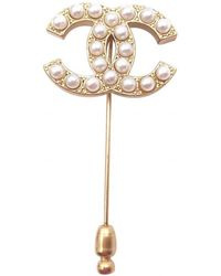 Chanel - Pre-owned Vintage Cc Gold Metal Pins & Brooches - Lyst
