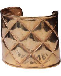 Chanel - Vintage Matelassé Gold Metal Bracelets - Lyst